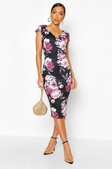 Black Floral Cap Sleeve Midi Dress