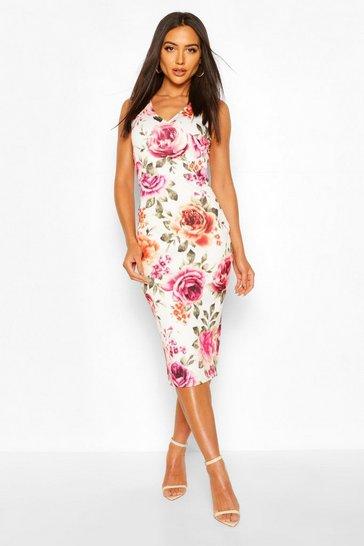 Cream Floral Sleeveless Midi Dress