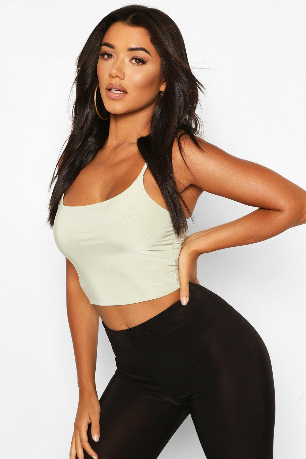 boohoo Womens Double Layer Slinky Crop Top - Green - 10, Green