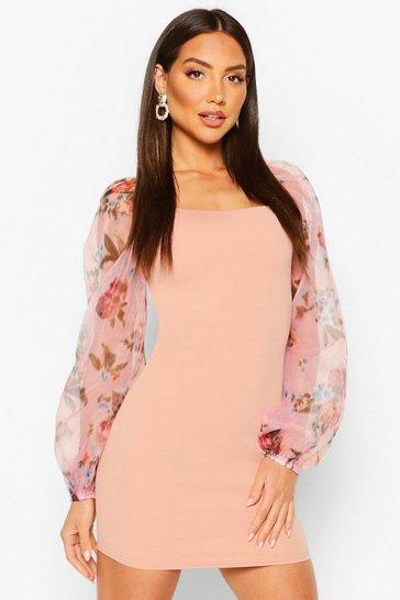 Pink Blurry Floral Organza Sleeve Mini Dress