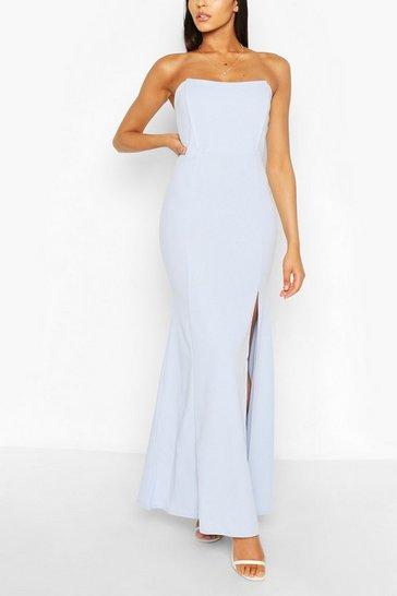 Pastel blue Shaped Bandeau Thigh Split Maxi Dress