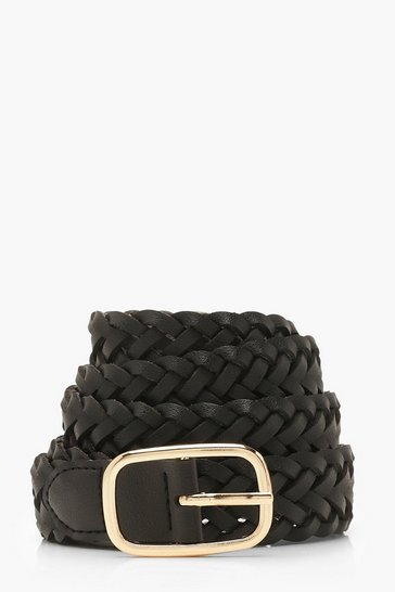 Black Woven Buckle Belt