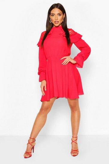 Red Lace Shoulder Ruffle Detail Skater Dress