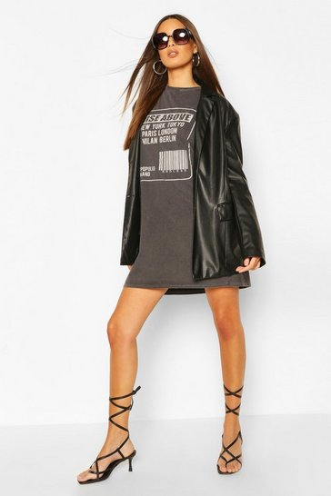 Black Short Sleeved Tonal Print Washed T-Shirt Dress