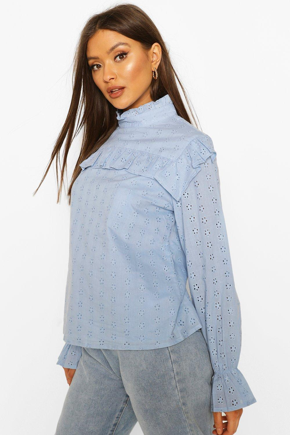 boohoo Womens Broderie Anglaise Frill Blouse - Blue - 10, Blue
