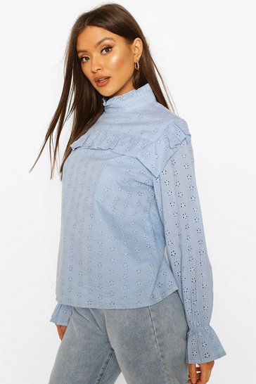 Powder blue Broderie Anglaise Frill Blouse