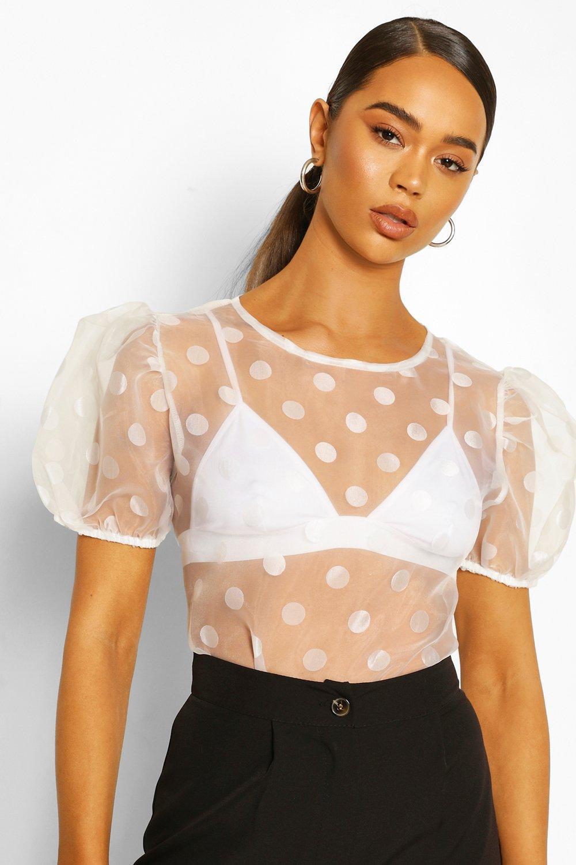 boohoo Womens Puff Sleeve Polka Dot Organza Mesh Top - White - 8, White