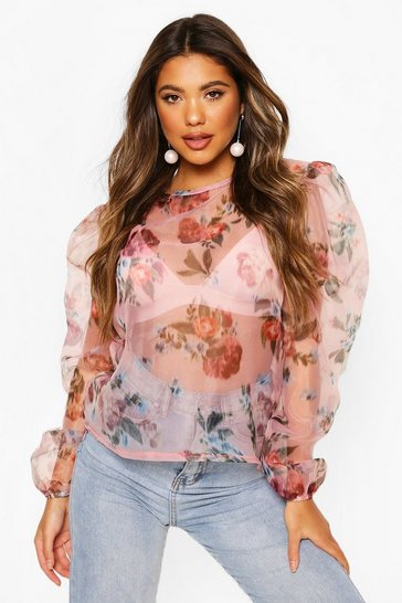 Pink Blurred Floral Organza Mesh Puff Sleeve Top