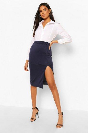 Navy Slit Front Midi Skirt
