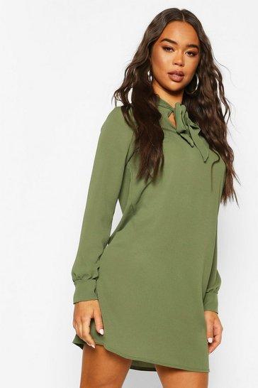 Khaki Pussybow Long Sleeve Shirt Dress