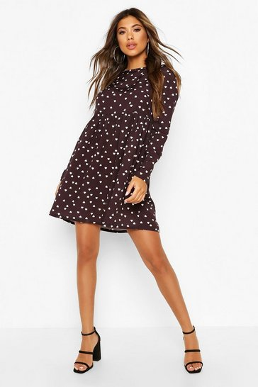 White Heart Print Smock Dress