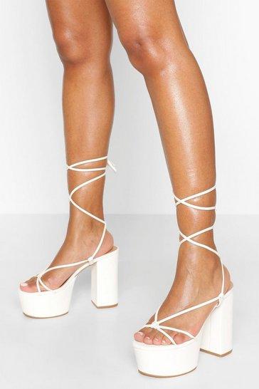 White Chunky Strappy Platform Heels