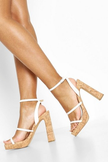 White Cork Triple Strap Platform Heels