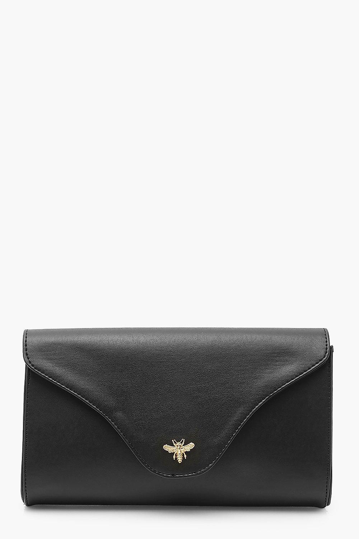 boohoo Womens Smooth Pu Metal Bee Clutch Bag With Chain - Black - One Size, Black
