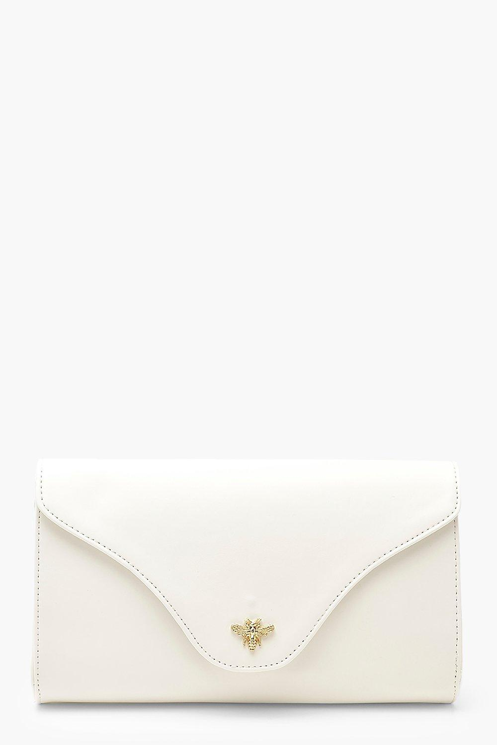 boohoo Womens Smooth Pu Metal Bee Clutch Bag With Chain - White - One Size, White