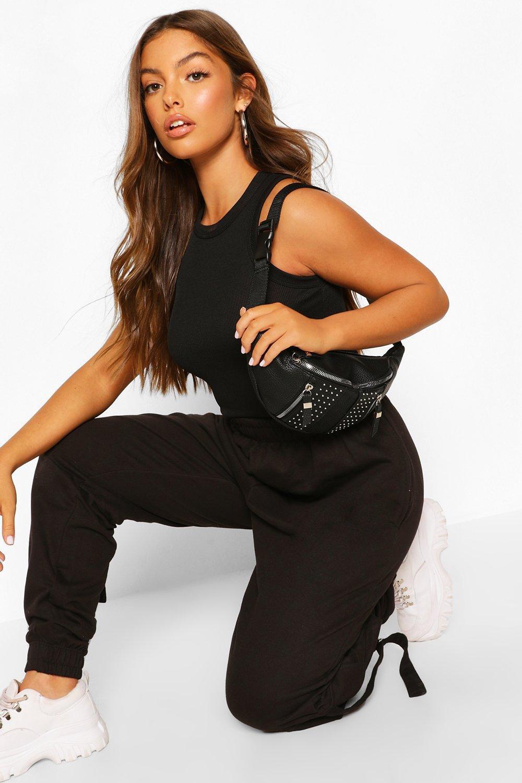 boohoo Womens Zip & Stud Detail Bum Bag - Black - One Size, Black