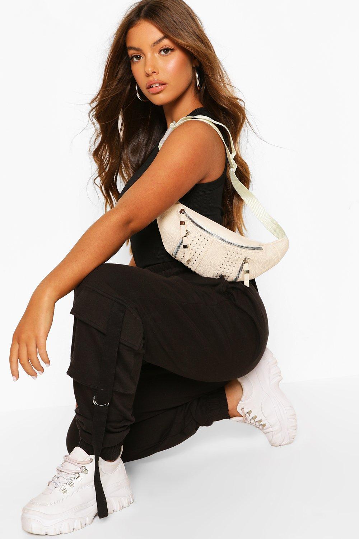boohoo Womens Zip & Stud Detail Bum Bag - White - One Size, White