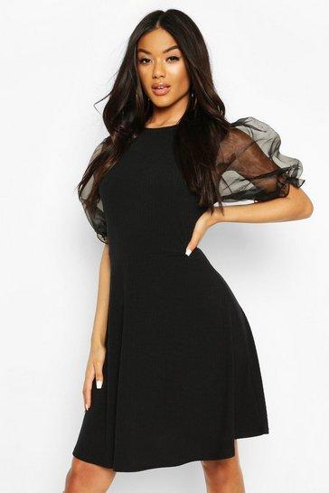 Black Rib Organza Sleeve Skater Dress