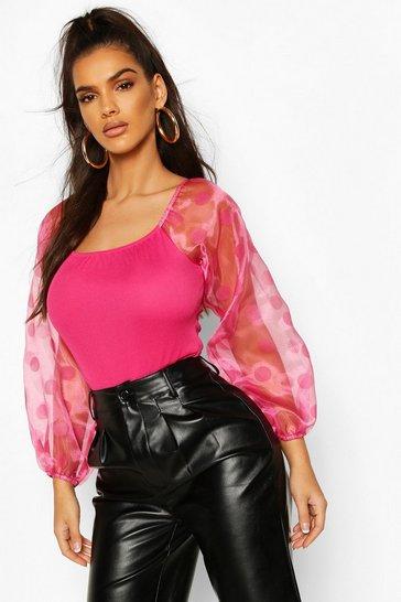 Pink Spot Organza Sleeve Bodysuit