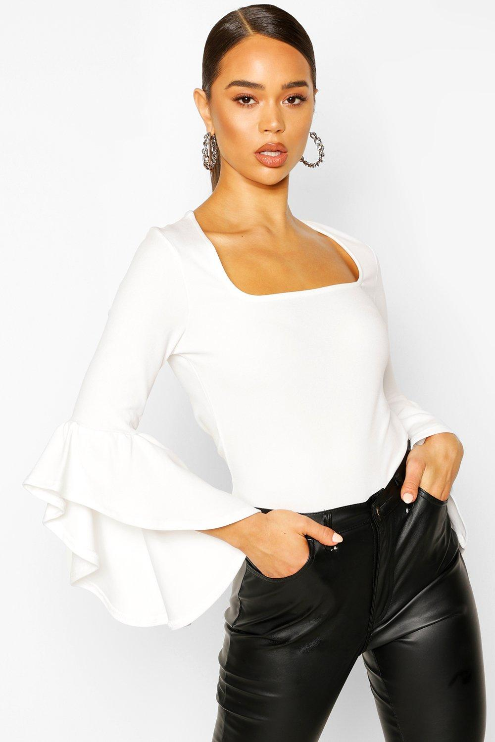 boohoo Womens Crepe Flared Sleeve Square Neck Top - White - 8, White