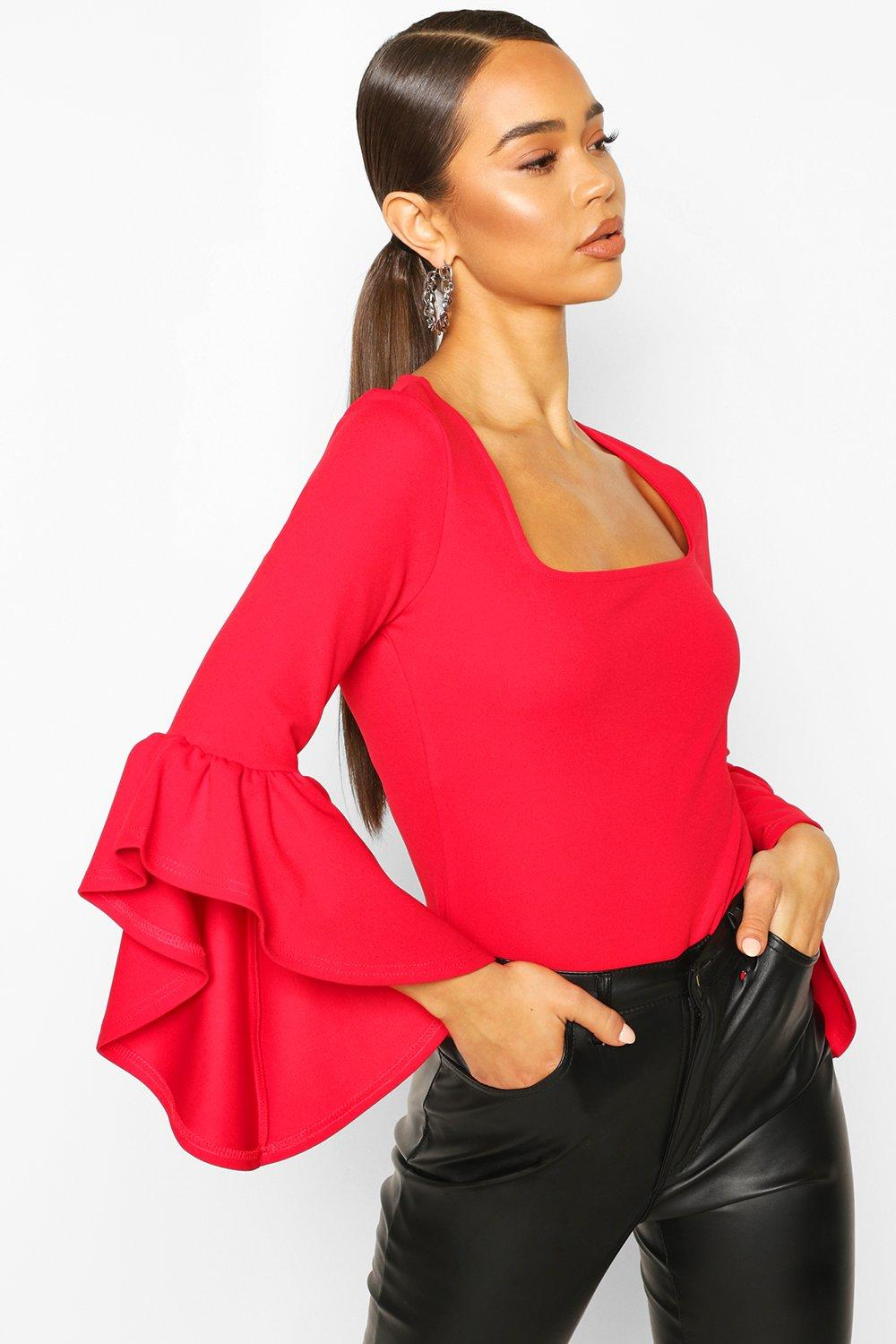 boohoo Womens Crepe Flared Sleeve Square Neck Top - 16, Red