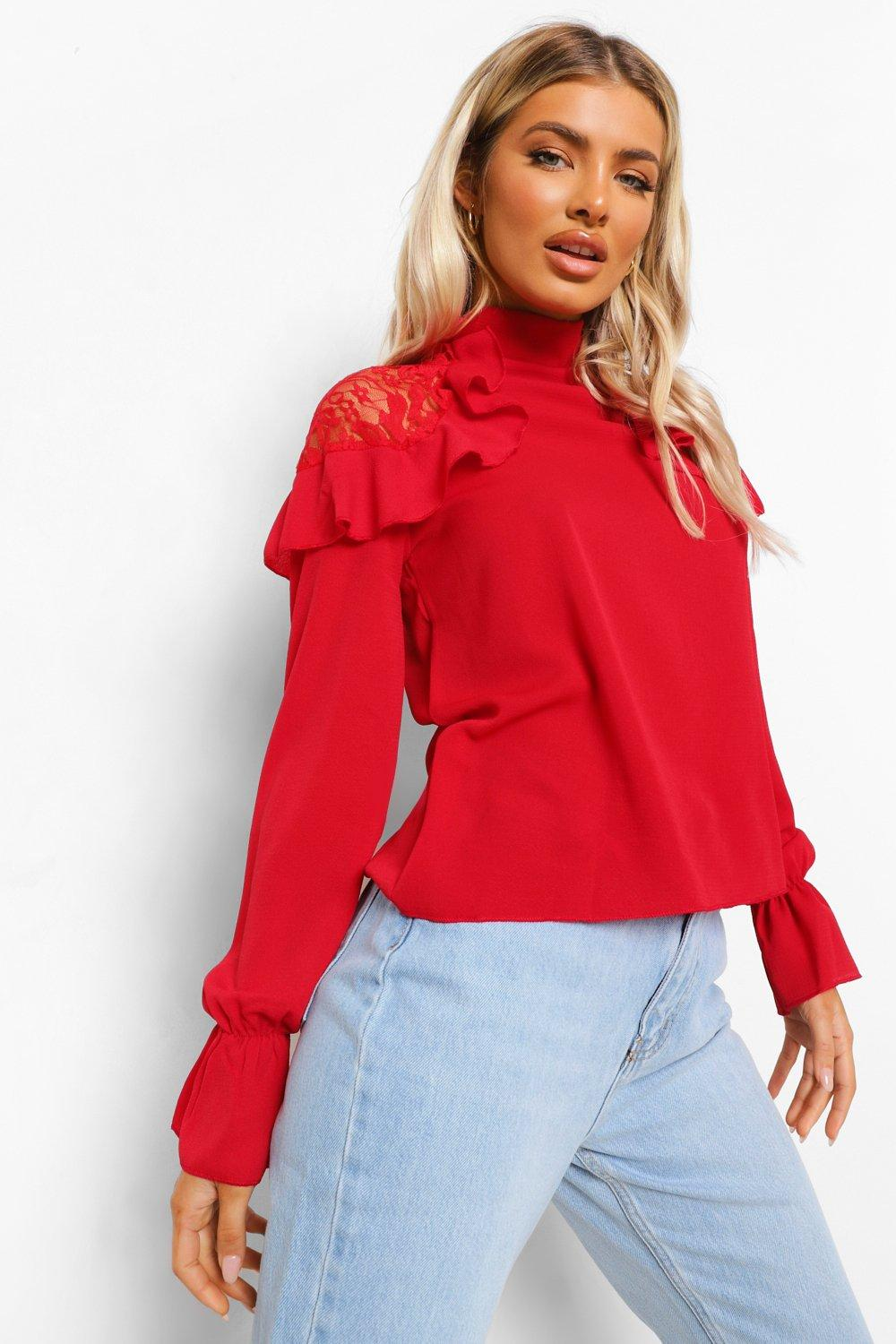 boohoo Womens Woven Ruffle Lace Detail Blouse - Red - 12, Red