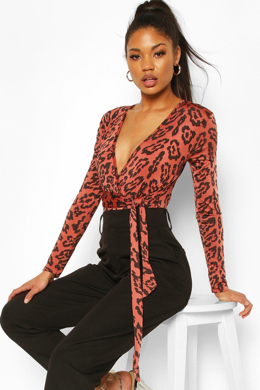 boohoo Womens Leopard Print Plunge Bodysuit - Brown - 14, Brown