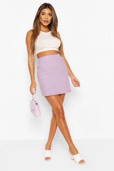 Lilac Pastel Check A Line Mini Skirt
