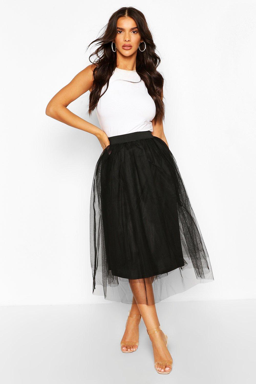 Удлиненная миди юбка из тюля
