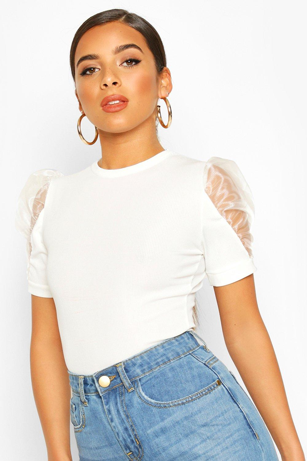 boohoo Womens Organza Short Sleeved Ribbed Top - White - 8, White