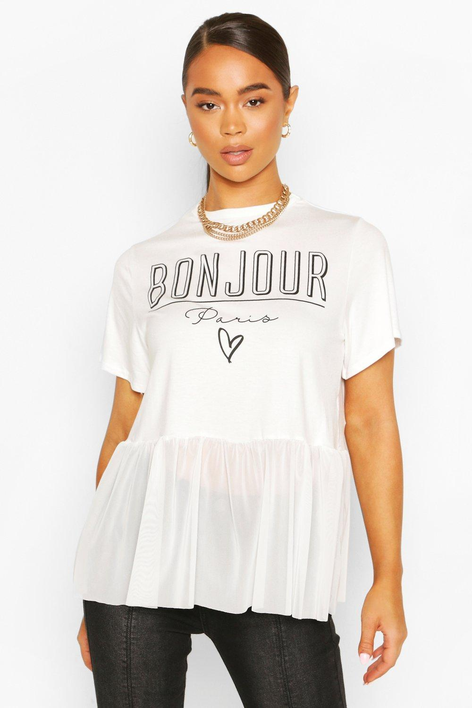boohoo Womens Bonjour Slogan Mesh T-Shirt - White - 10, White