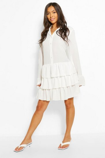 White Ruffle Hem Shirt Dress
