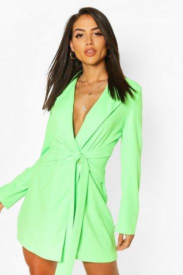 Neon-green Wrap Belted Blazer Dress