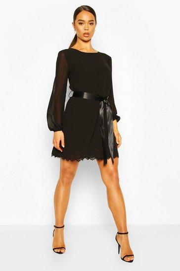 Black Crochet Lace Hem Belted Shift Dress