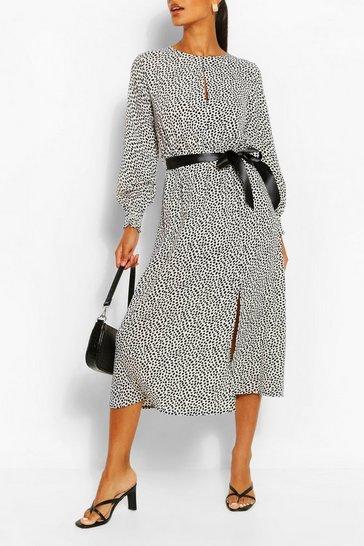 White Dalmation Print Split Detail Long Sleeve Midi Dress