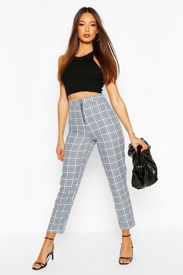 Powder blue Pastel Check Zip Front Slim Leg Trouser