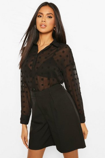 Black Oversize Dobby Chiffon Shirt