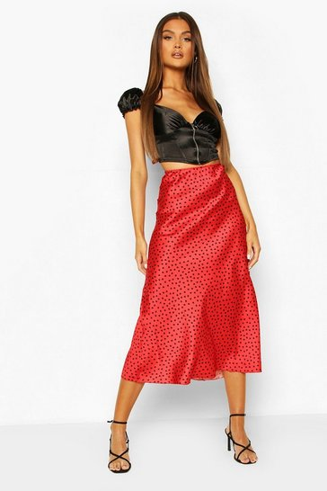 Red Heart Polka Dot Slip Skirt