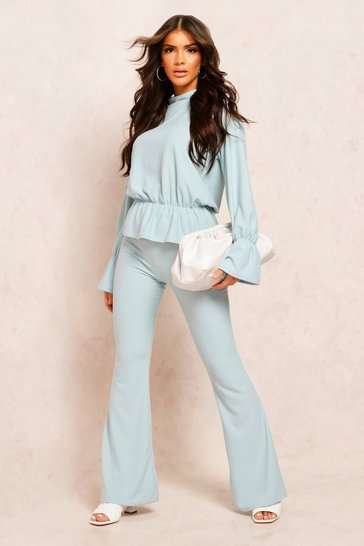 Duck egg Recycled Rib Fit & Flare Trouser