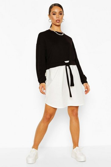 Black Cotton Mix Sweat Dress