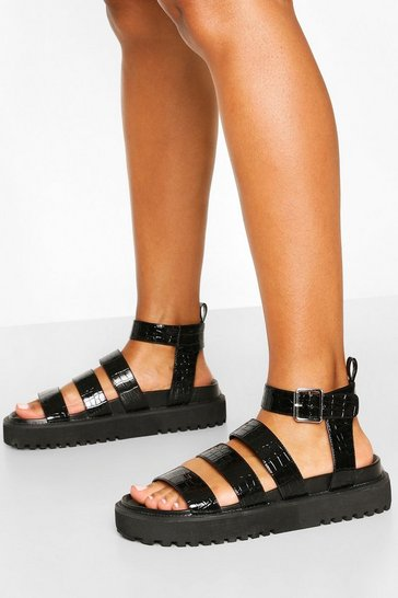 Black Triple Strap Chunky Footbed Sandals
