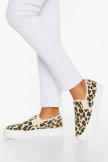 Natural Leopard Print Platform Skaters
