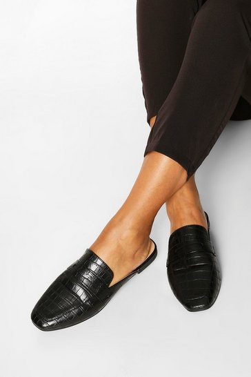 Black Croc Mule Loafers