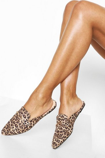 Leopard Pointed Mules