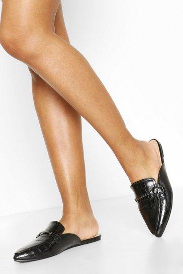 Black Croc Pointed Toe Mules