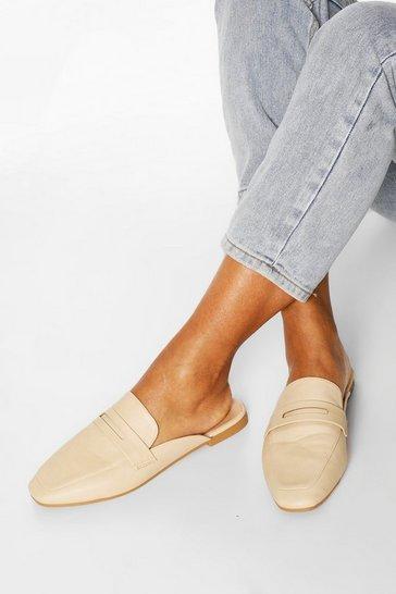 Cream Square Toe Mule Loafers