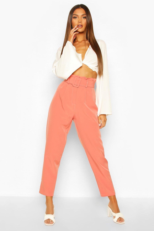 Узкие брюки с поясом и напуском фото