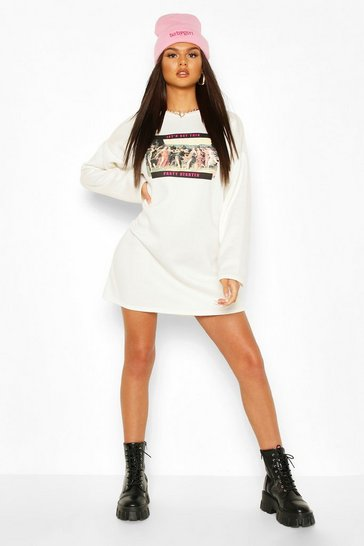 Cream Photo Printed Long Sleeve Sweat Dress