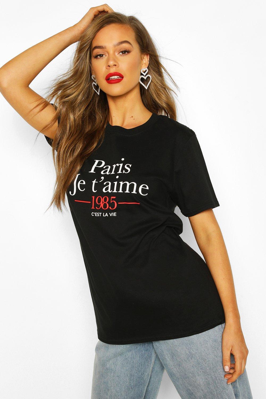 """Womens T-Shirt mit """"Paris French""""-Slogan - schwarz - S, Schwarz - Boohoo.com"""