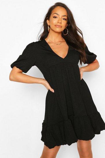 Black Puff Ball Smock Dress